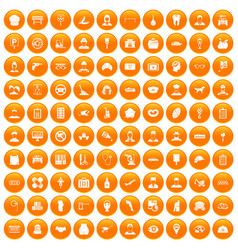 100 favorite work icons set orange vector image vector image