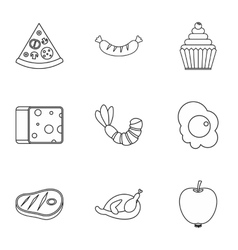 Food in morning icons set outline style vector
