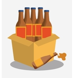Bottles beer cardboard box vector
