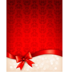 Holiday background with gift glossy bow and ribbon vector