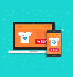 responsive internet shop development design vector image