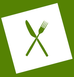 Fork and knife sign  white icon obtained vector