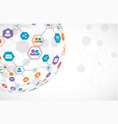 social media background network concept vector image