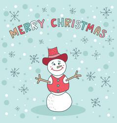 Merry christmas snowman blue greeting card cute vector