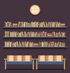 Flat design reading seats and bookshelves vector