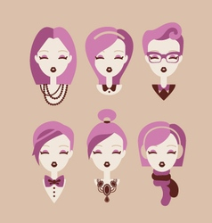 fashion girls icon set vector image