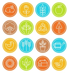Farm and agriculture signs and symbols in trendy vector
