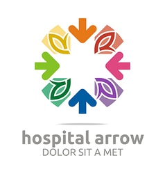 Abstract logo hospital arrow leaves colorful icon vector