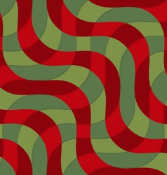 Retro 3d green and red intersecting waves vector