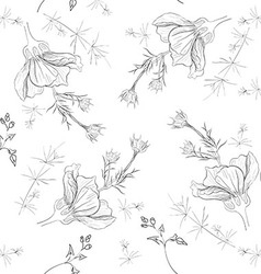 Hand-drawn flower seamless pattern vector