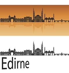 Edirne skyline in orange vector image