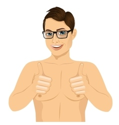 Muscular man showing thumbs up vector