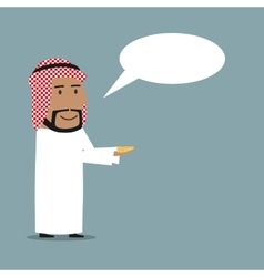 Arabian businessman with money and speech bubble vector