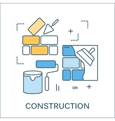 Thin line flat design of construction tools vector