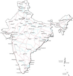 India black white map vector