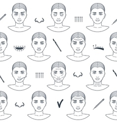 Seamless pattern of plastic surgery face with line vector image