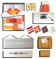 Bedroom top view set 4 for interior vector