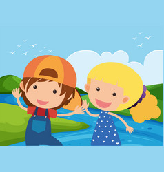Boy and girl by the river vector