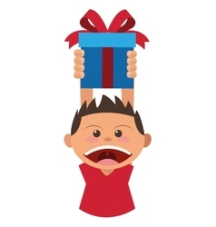 boy holding gift box icon vector image