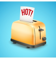 Bright Metal toaster with message HOT Background vector image