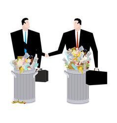 Businessman handshake in trash can business deal vector