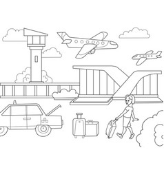 cartoon children coloring book airport black and vector image vector image