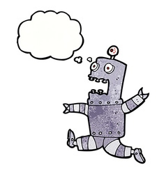 Cartoon terrified robot with thought bubble vector