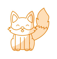 Cute shadow fox cartoon vector