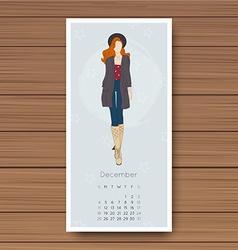 December hand drawn fashion models calendar 2016 vector