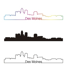 Des moines skyline linear style with rainbow vector