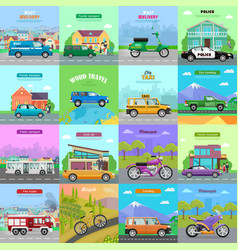 different means of transportation auto icons vector image vector image