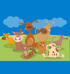 dogs and puppies cartoon characters vector image vector image