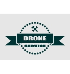 Drone quadrocopter emblem drone and service text vector