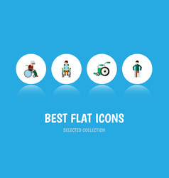 flat icon handicapped set of injured disabled vector image vector image