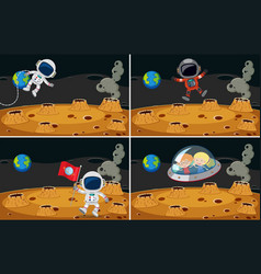 Four space scenes with astronauts flying vector