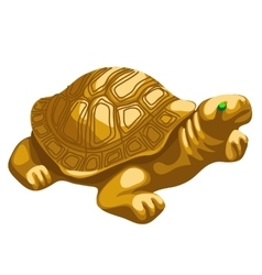 Golden turtle figurine with emerald eyes vector