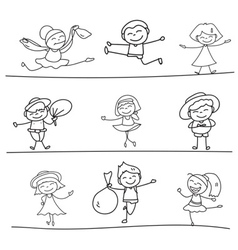 Hand drawing cartoon character happy kids playing vector