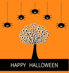 happy halloween card black tree silhouette with vector image vector image