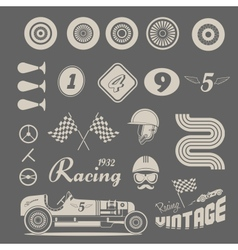 icons of vintage car racing vector image vector image