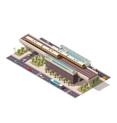 Isometric city train station vector