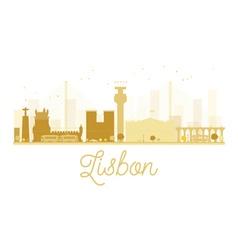Lisbon city skyline golden silhouette vector