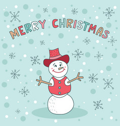 Merry christmas snowman blue greeting card cute vector