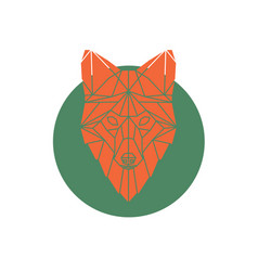 Orange fox head geometric lines silhouette vector