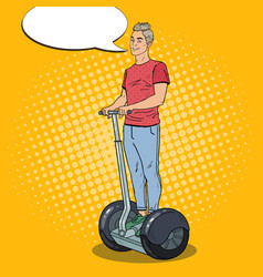 pop art young man driving segway urban transport vector image vector image