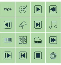 Set of 16 music icons includes following music vector