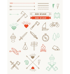 set of icons items badges hipster style vector image