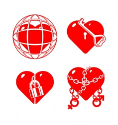 set of the stylised closed hearts vector image