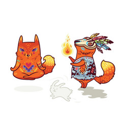 shaman fox and yogi fox fun characters in vector image