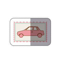Sticker frame with silhouette of automobile vector