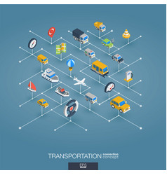 Transportation integrated 3d web icons digital vector